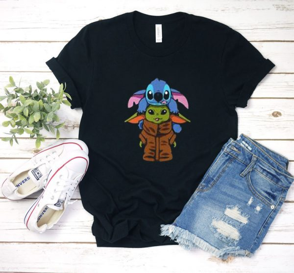 stitch and baby Yoda T shirt