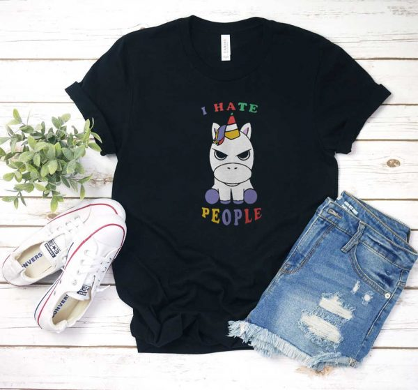 Baby Unicorn I Hate People T Shirt