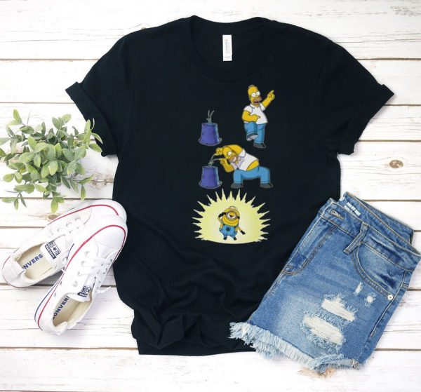 Action The Simpsons and Minions T Shirt