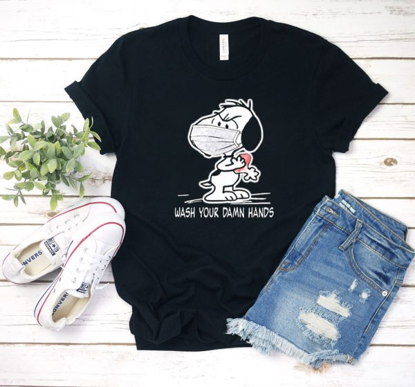 Snoopy Wash Your Damn Hands Mask T Shirt
