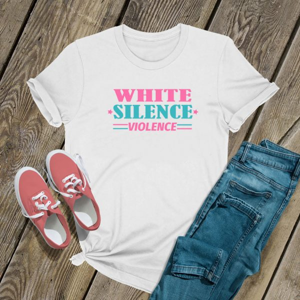 White Silence Violence Colour T Shirt