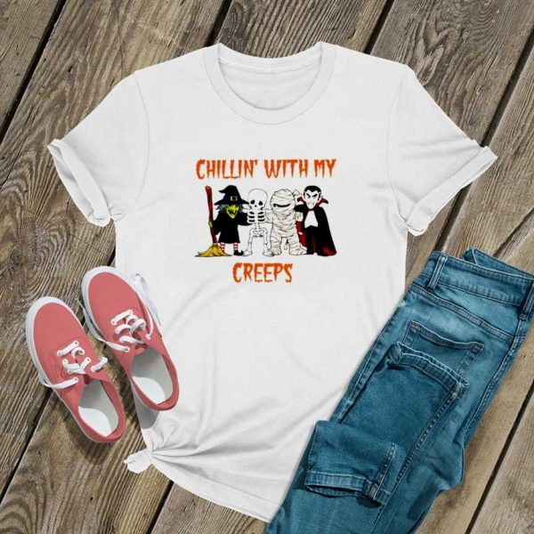 Chillin Creeps Vampire Witch Halloween T Shirt