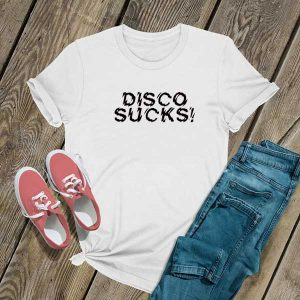 Disco Sucks Text T Shirt